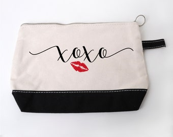 Valentines Day Gift for Her - XOXO Cosmetic Bag - Zipper Pouch