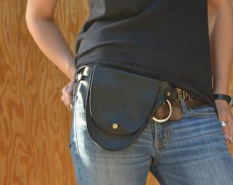 Black Cowhide Leather Hip Bag / Festival Bag / Not Your Mother's Fanny Pack / Belt Bag / Rustic Chic