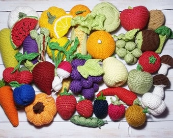 Crochet vegetables fruits 34 Pcs birthday gift play food kids gift toddler gift Soft toy children party favors child montessori toy