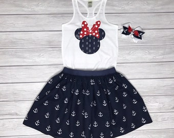 Minnie Shirt, Skirt, & Bow Set, Cruise Outfit, Girls' Outfit, Minnie Anchors, Minnie Sailor Outfit, Disney Cruise