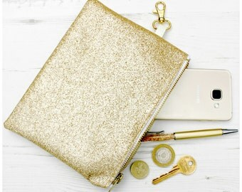 Gold Glitter Coin Purse. Sparkly. Chunky Zip. Clasp. Handbag. Clutch. Shopping. Party. Luxe. Bling.