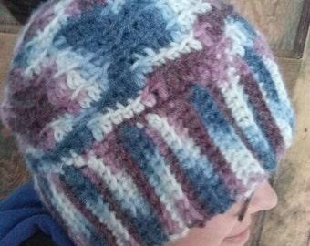 Messy Bun Hat in Varigated Yarn
