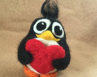 Penguin with Heart - needle felted