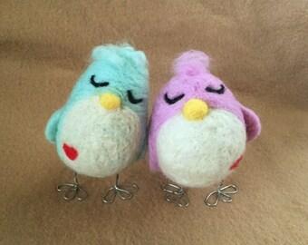 Love Birds - needle felted