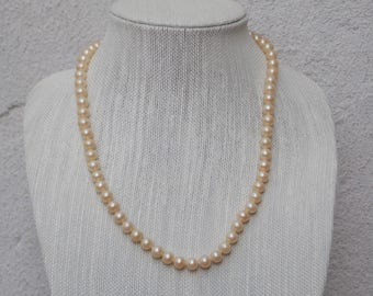 Vintage Strung Pearl Necklace with Silver Hook Clasp, Antique Faux Pearls circa 1950