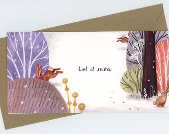 Pack of 5 Rabbits in the Snow Christmas Cards
