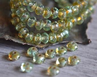 30 Light Aqua Green Czech Picasso Faceted Rondelle Beads 5x3mm- Bliss (594-30)