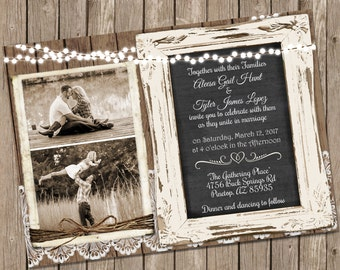 Wood and Lace Wedding Invitation, Chalkboard Wedding Invitation, Rustic Wood Invite with Photo, Shabby Chic invite