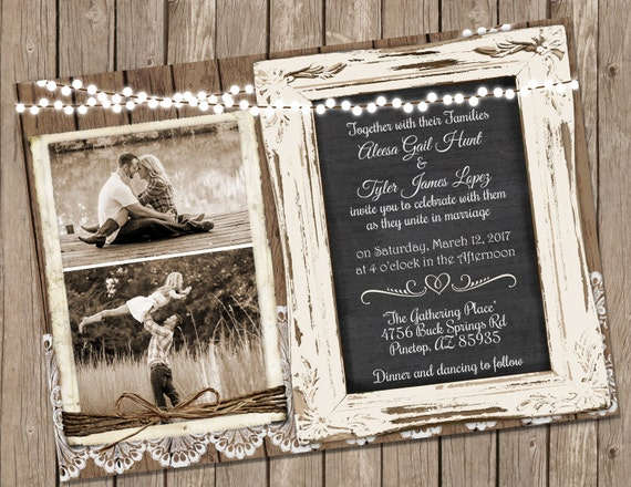 Cheap Shabby Chic Wedding Invitations: Wood And Lace Wedding Invitation Chalkboard Wedding