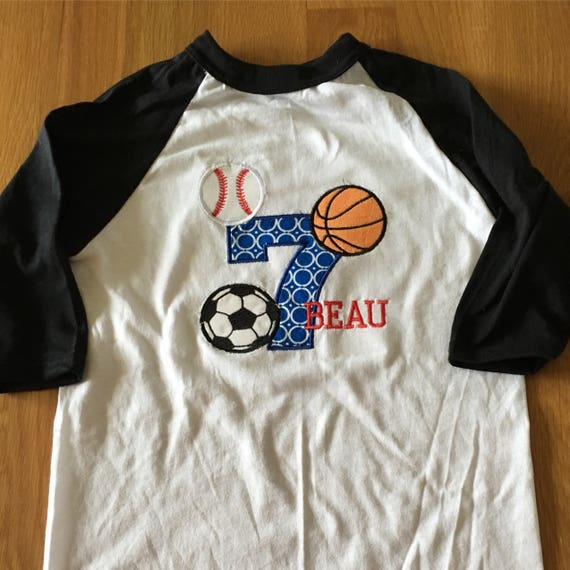 Boys sports birthday raglan basketball, baseball shirt, basketball, baseball, soccer, sports birthday theme shirt, boys birthday sports