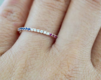 14k Rose Gold Diamond Sapphire Ruby Dainty Thin Halfway Eternity Band Wedding Anniversary Engagement Promise Stackable Ring