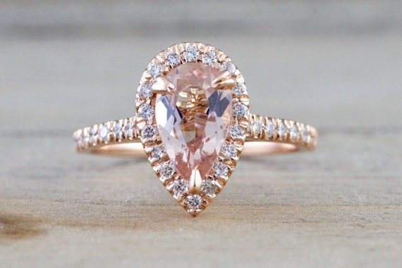14k Rose Gold Pear Morganite Peach Champagne Beige Diamond