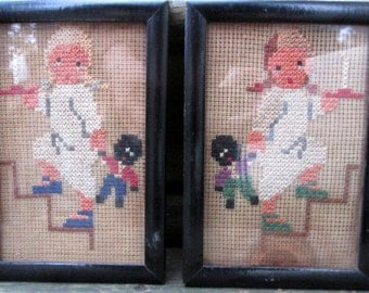 Pair Charming Golliwog Black Golly Doll Old Cross Stitch of Little Girl  Heading to Bed with Candle and Doll Framed