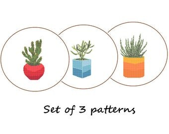 Cactus cross stitch Modern Cross Stitch Pattern succulent set of 3 potted plants indoor plant stripes geometric blue red orange ombre shades