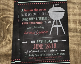 Baby Girl Shower Invitation, Co-ed, BBQ Baby Shower, Chalkboard, Couples Shower, Custom, Printable, Cookout, Coral, Mint, Burgers, Casual