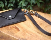 Handmade Black Leather minimalist wallet with wristlet and swivel lever snap, hand stitched and dyed, small wallet, veg tanned leather