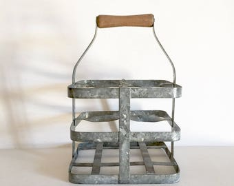 Antique French Zinc Bottle Carrier - Wine Bottle Caddy - French Vintage Bottle Storage - Rustic Bottle Carrier