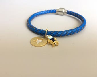 Evil Eye Bracelet - Charm Bracelet - Star Charm Bracelet - Leather Bracelet - Evil Eye Fish Bracelet - Star Charm Bracelet - Friend Gift