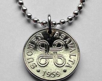 1959 Finland 5 Markka coin pendant Finnish hannunvaakuna Looped square Scandinavia Nordic Helsinki Viking Baltic Finns necklace n001959