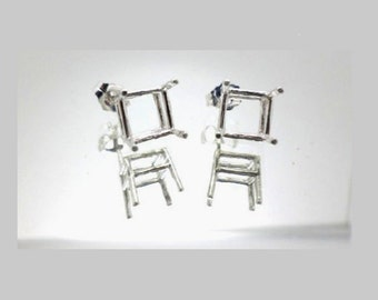 6mm -11mm Octo Square Pre-Notched Solid Sterling Silver Earring Settings ( 1 Pair )