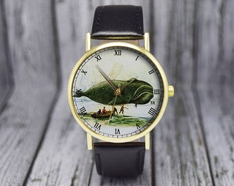 Vintage Sperm Whale Watch   Leather Watch   Ladies Watch   Mens Watch   Gift Idea   For Him   For Her   Fashion Accessory