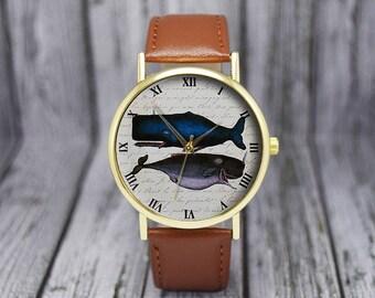 Vintage Sperm Whale Blue Whale Watch   Leather Watch   Ladies Watch   Men's Watch   Birthday   Wedding   Gift Ideas   Fashion Accessories