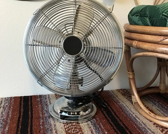 "Vintage Osculating Chrome 12"" Desk Fan"