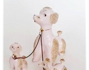Pink Poodles Figurines. Vintage 1950's Japan