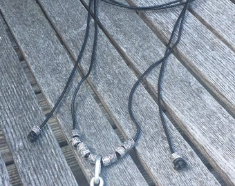 Silver Jewelry/Silver Lariat Necklace with Brown Leather/Lightweight/Fashion Jewelry/Silver Hammered Pendant/Versatile/LydiaZ