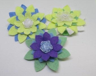 Flower hair clip set, set of 3 girls flowers croc clips, non slip hair clip set, Easter hair clip set, felt flower hair clips, yellow clip