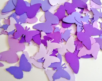 Paper Purple butterflies die cuts wedding decorations, scrapbooking, weddings, mix confetti butterflies (250 cuts)