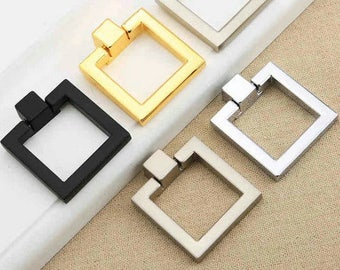 Square Dresser Pull Knobs Drawer Knob Pulls Handles Drop Rings Silver Gold  Black Bronze Nickel Kitchen
