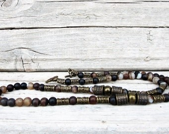Mens Banded Agate Necklace, Dark Brown Agate Necklace, Choker Necklace, Mens Beaded Jewelry, Mens Beaded Necklace, Mens Surfer Necklace