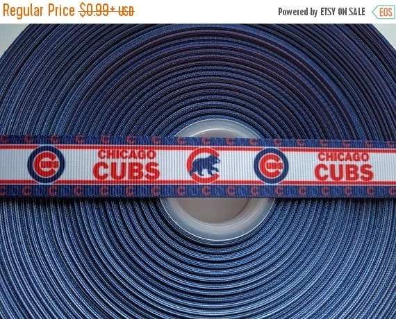 "SUPER SALE CHICAGO  Cubs 7/8"" 22mm Grosgrain Hair Bow Craft Ribbon 783182"