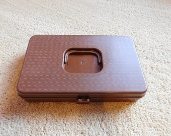 Vintage Plastic Thread and Bobbin Box Brown Wil-Hold
