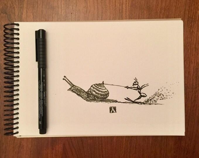 KillerBeeMoto: Original Pen Sketch of an Ant Skiing Behind a Snail