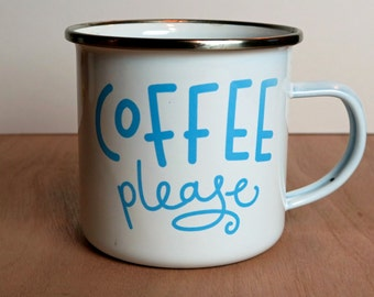 Coffee Please Enamel Tin Camping Mug