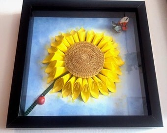 3D Sunflower picture-frame included
