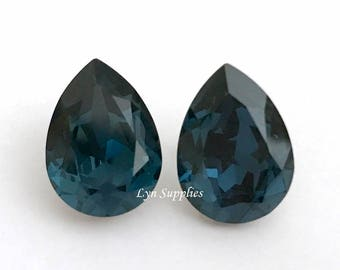 4320 MONTANA 18x13mm Swarovski Crystal Pear Fancy Stones, Dark Blue Teardrops