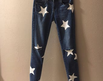 Stars-hand painted jeans