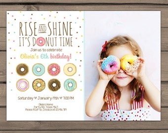 Donut Birthday Party Invitation doughnut Party Invitation Rise and Shine donut time girl birthday pink mint Digital PRINTABLE ANY AGE dnt