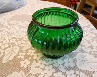 Emerald Green Glass Vase/Planter EO Brody Co. G105