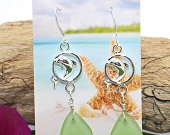 Beach Glass Earrings, Dolphin Earrings, Dangle Earrings, Beach Jewelry, Sea Glass Earrings, Beach Wedding, Silver Earrings