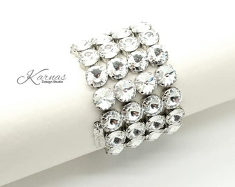 DESIGN YOUR BRACELET 12mm Statement Stretch Bracelet Swarovski Crystal *Choose Colors & Finish *Karnas Design Studio™ Free Shipping