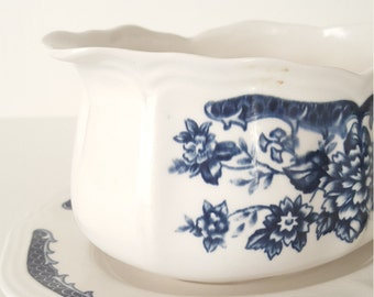 Mismatched China Blue And White Ironstone Gravy Boat For Wedding,Dinner Party,Bridal Shower, Collectable,Tea Party,Mismatched China,