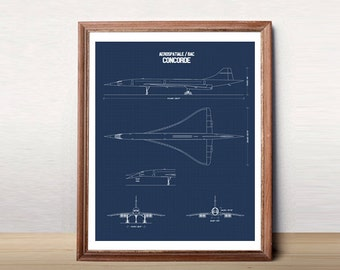 Blueprint art etsy concorde blueprint concorde jet blueprint art instant download concorde printable art malvernweather Gallery