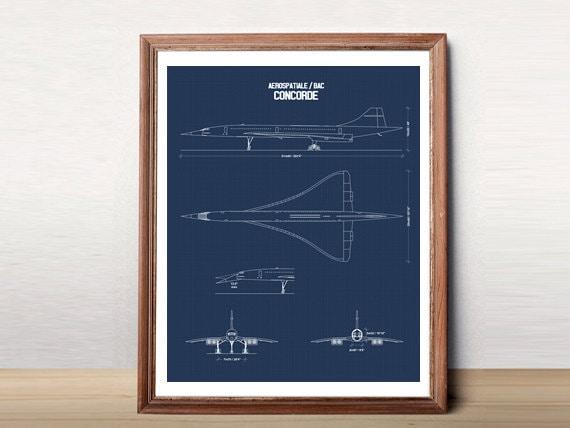 Concorde blueprint concorde jet blueprint art instant concorde blueprint concorde jet blueprint art instant download concorde printable art blue prints aviation decor 8x10 11x14 malvernweather Images