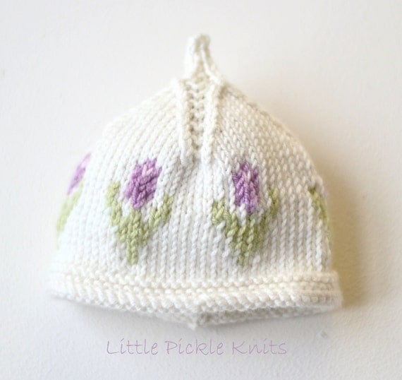 Newborn Beanie Knitting Pattern : DIY Knitting pattern Baby Beanie Little Tulip