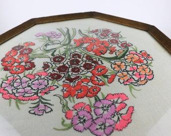Vintage Large Tray with Embroidered Floral Pattern