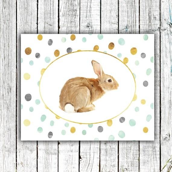 Nursery Wall Art, Bunny, Rabbit, Woodland, Gender Neutral, Mint and Gold polka dots, Digital Download Size 8x10 #602